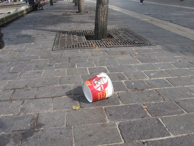 It's generally considered impolite to throw your KFC bucket on the ground in Paris.