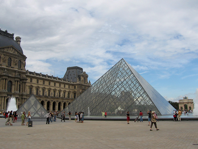 The big glass pyramid is the main entrance to the Louvre